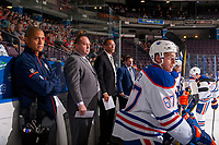 PENTICTON, CANADA - SEPTEMBER 8: Austin Glover #67 of Edmonton Oilers sits on the bench against the Calgary Flames on September 8, 2017 at the South Okanagan Event Centre in Penticton, British Columbia, Canada.  (Photo by Marissa Baecker/Shoot the Breeze)  *** Local Caption ***
