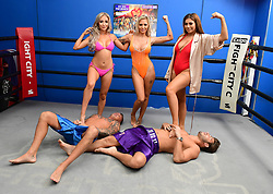 David Hawley, Georgia Crone, Che McSorley, Chloe Ferry and Josh Ritchie attending the Ex On The Beach Photocall, held at the Fight City Gym, London.
