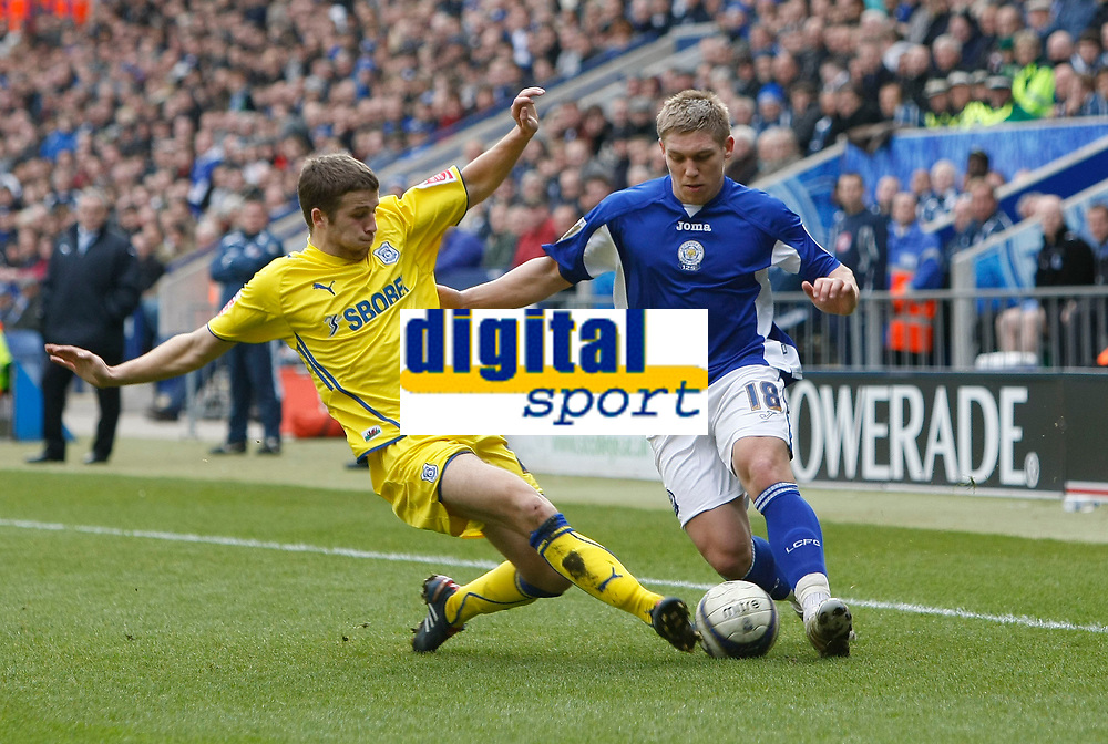 Photo: Steve Bond/Richard Lane Photography. Leicester City v Cardiff City. Coca Cola Championship. 13/03/2010. Martyn Waghorn (R) is tackled by Adam Matthews