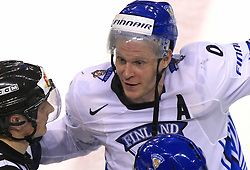 Mikko Koivu of Finland  talking to the referee after fight at te end of ice-hockey match Finland vs USA at Qualifying round Group F of IIHF WC 2008 in Halifax, on May 11, 2008 in Metro Center, Halifax, Nova Scotia, Canada. (Photo by Vid Ponikvar / Sportal Images)