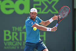 March 26, 2018 - Miami, FL, United States - KEY BISCAYNE, FL - March, 26: Steve Johnson (USA) in action plays during the 2018 Miami Open on March 24, 2018, at the Tennis Center at Crandon Park in Key Biscayne, FL. (Credit Image: © Andrew Patron via ZUMA Wire)
