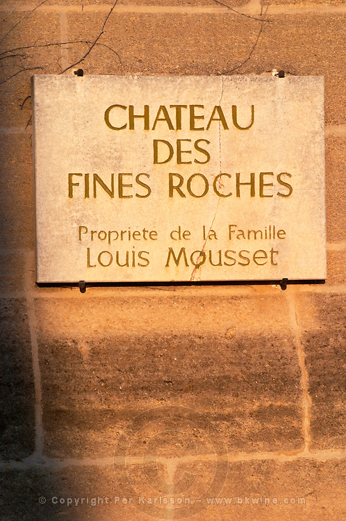 A sign for the Chateau des Fines Roches, property of the Louis Mousset family, Chateauneuf-du-Pape, Vaucluse, Rhone, Provence, France
