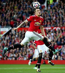 Phil Jones of Manchester United heads the ball clear - Mandatory by-line: Matt McNulty/JMP - 17/09/2017 - FOOTBALL - Old Trafford - Manchester, England - Manchester United v Everton - Premier League