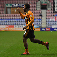 Hull City's Mallik Wilks celebrates scoring his sides 2nd goal<br /> <br /> Photographer Dave Howarth/CameraSport<br /> <br /> The EFL Sky Bet League One - Wigan Athletic v Hull City - Wednesday 17th February 2021 - DW Stadium - Wigan<br /> <br /> World Copyright © 2021 CameraSport. All rights reserved. 43 Linden Ave. Countesthorpe. Leicester. England. LE8 5PG - Tel: +44 (0) 116 277 4147 - admin@camerasport.com - www.camerasport.com
