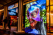 Public Art Installation by Miriam Alarcon Avila August-2019-<br />Projection of Luchadores Immigrants in Iowa during Semana Cultural Latina in Iowa City.