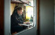 Passenger on-board the BAM (Baikal-Amur Mainline) Siberia, Russia