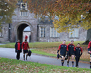 Gethin Jenkins of Wales , who will captain the side on Saturday (c) arrives for the Wales rugby team training at the Vale Resort, Hensol, Vale of Glamorgan, in South Wales on Thursday 3rd November 2016, the team are preparing for their match against Australia this weekend. pic by Andrew Orchard, Andrew Orchard sports photography