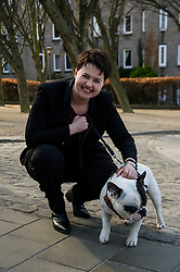 Pictured: Ruth Davidson made friends with Louis the French bulldog<br /> <br /> Scottish Conservative leader Ruth Davidson visited Stockbridge in Edinburgh today as she continues o the campaign trail.<br /> <br /> Ger Harley | EEm 25 March 2016