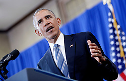 President Barack Obama speaks during a visit to Benjamin Banneker Academic High School to highlight the progress that has been made over the last eight years to improve education across the country on October 17, 2016 in Washington, DC. Photo by Olivier Douliery/Abaca