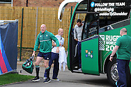 Paul O'Connell of Ireland  strides off the team bus as he arrives for the  Ireland rugby team training at Newport High School in Newport , South Wales on Wed 7th October 2015.the team are preparing for their next RWC match against France this weekend.<br /> pic by  Andrew Orchard, Andrew Orchard sports photography.