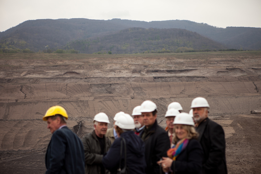 "A group of visitors at the North Bohemian Brown Coal Basin during a so called ""Czech Coal Safari"" in Most area. The Czech Coal Group offers visitors the possibilty to see unique technical works in the mining areas of their surface mines."