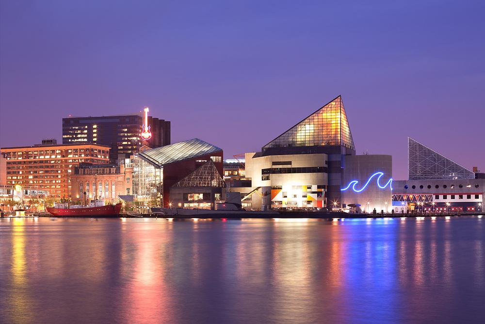 Baltimore, Maryland, USA - View at night of the National Aquarium at Inner Harbor.