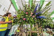 The Leeds castle entry in the Floral Design Studio - Preparations for the Hampton Court Flower Show, organised by teh Royal Horticultural Society (RHS). In the grounds of the Hampton Court Palace, London.