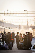 Passengers on the platform at Tynda station Amur region. Siberia, Russia