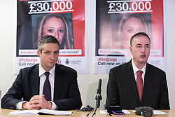 © Licensed to London News Pictures . FILE PICTUDE DATED 15/04/2014 of Detective Superintendent ANDY WEBSTER , dedicated Senior Investigating Officer for the Paige Chivers murder and Lancashire Police and Crime Commissioner CLIVE GRUNSHAW , at an appeal for information related to Paige Chivers' murder , as today ( 10th July 2015 ) at Preston Crown Court , Robert Ewing ( 60 of Kincraig Place, Blackpool ) has been convicted of Chivers' murder and Gareth Dewhurst ( 46 of Duncan Avenue, Blackpool ) convicted of disposing of her body . Paige Chivers went missing in August 2007 . Her body has never been recovered . Photo credit : Joel Goodman/LNP