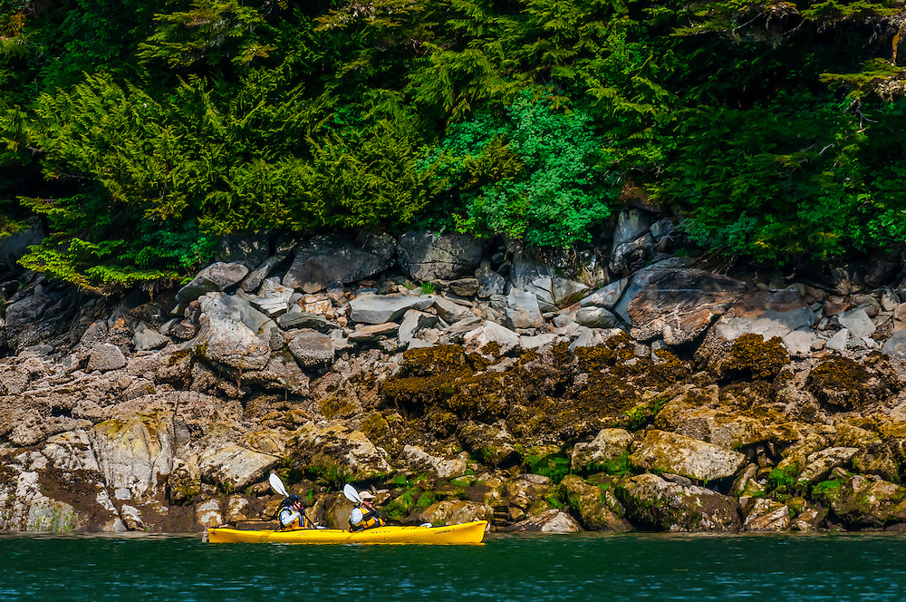 Sea kayaking, Takatz Bay, Baranof Island, Inside Passage, Southeast Alaska USA.
