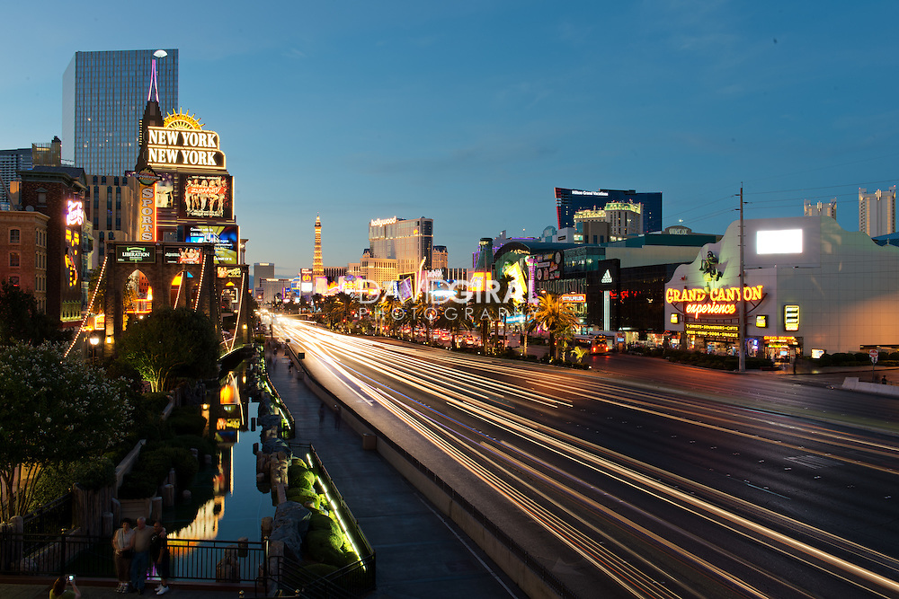 rush hour traffic on Las Vegas Strip at the blue hour, Nevada, USA