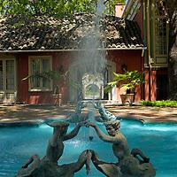 South America, Chile, Santiago. Fountain at Santa Rita Winery.