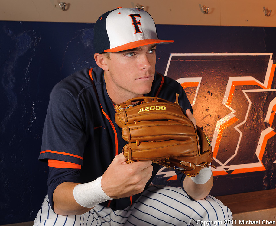 Portrait of freshman infielder Keegan Dale at Goodwin Field on the Cal State Fullerton Campus in Fullerton, Calif., shot on Saturday, April 23, 2011.  Photo by Michael Chen/SSA Lighting Luau