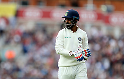 India's Lokesh Rahul walks of the field after dismissed by England's Sam Curran (not in picture) during the test match at The Kia Oval, London.