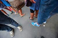 feet in line at food festival-Menilmontant, Paris