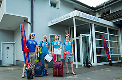 Ilka Stuhec, Katarina Lavtar, Marusa Ferk and Ana Drev at departure of Slovenian Women Ski Team to training camp in Argentina on August 5, 2014 in SZS, Ljubljana, Slovenia. Photo by Vid Ponikvar / Sportida.com