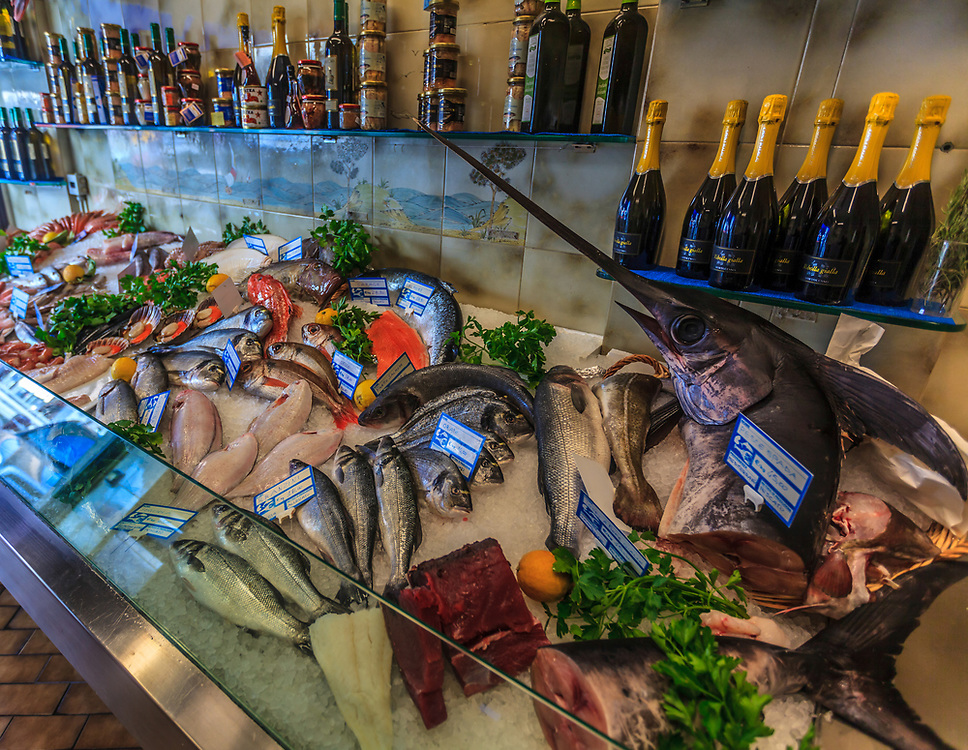 The fishmonger shop in Milan, Italy.