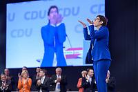 22 NOV 2019, LEIPZIG/GERMANY:<br /> Annegret Kramp-Karrenbauer, CDU Bundesvorsitzende und Bundesverteidigungsministerin, nimmt nach ihrer Rede den Applaus der Delegierten entgegen, CDU Bundesparteitag, CCL Leipzig<br /> IMAGE: 20191122-01-141<br /> KEYWORDS: Parteitag, party congress, Applaus, applaudieren, klatschen, Jubel, Kussmund