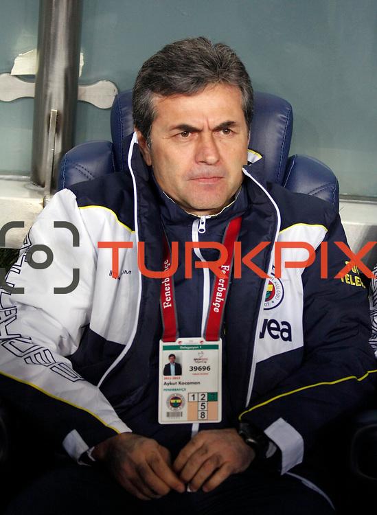 Fenerbahce's coach Aykut Kocaman during their Turkish superleague soccer derby match Fenerbahce between Galatasaray at Sukru Saracaoglu stadium in Istanbul Turkey on Saturday 17 March 2012. Photo by TURKPIX