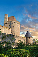 Carcassonne medieval historic fortifications and battlement walls of Carcassonne castle, Carcassonne France