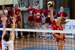 Monika Potokar of Nova KBM Branik Maribor vs Tea Lenarcic of Calcit Kamnik during volleyball match between Calcit Kamnik and Nova KBM Branik Maribor in second game of Slovenia National Championship Final, on March 27, 2012 at Sportna Dvorana, Kamnik, Slovenia. (Photo By Matic Klansek Velej / Sportida)