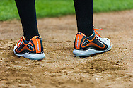 A close look at Baltimore Orioles center fielder Adam Jones's shoes as he waits on-deck against the Minnesota Twins at Target Field in Minneapolis, Minnesota on July 16, 2012.  The Twins defeated the Orioles 19 to 7 setting a Target Field record for runs scored by the Twins.  © 2012 Ben Krause