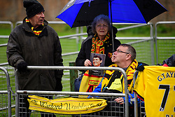© Licensed to London News Pictures. 01/02/2017. Watford, UK. Fans gather for The funeral of former England football team manager Graham Taylor at St Mary's Church in Watford, Hertfordshire. The former England, Watford and Aston Villa manager,  who later went on to be chairman of Watford Football Club, died at the age of 72 from a suspected heart attack. Photo credit: Ben Cawthra/LNP