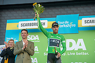 Chris Lawless of Team Ineos on stage at the end of stage 3 as he takes lead in the sprinters classification during the third stage of the Tour de Yorkshire from Bridlington to Scarborough, , United Kingdom on 4 May 2019.