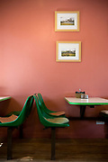 Tables and chairs, interior of the Ty-Tan cafe along the A5 road on the 20th April 2011 in Cerrigydrudion in the United Kingdom.