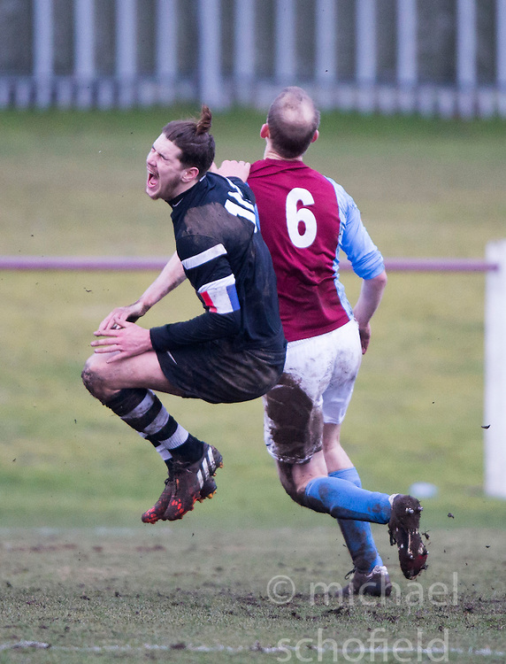 Edusport Academy Quentin Fouley and Danny O'Donnell.<br /> Whitehill Welfare 2 v 1 Edusport Academy, South Challenge Cup Quarter Final played 7/3/2015 at Ferguson Park, Carnethie Street, Rosewell.