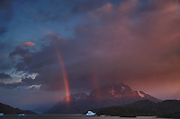 Early Morning Rainbow, Lago Grey, Torres del Paine, Chile. Image taken with a Nikon D3s and 28-120 mm f/4 lens (ISO 200, 31 mm, f/5.6). HDR composite of 4 images using NIK HDR Pro