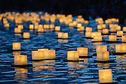 Many floating lanterns float at the Lantern Floating Ceremony in Honolulu, Hawaii.