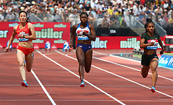 July 21, 2018 - London, United Kingdom - L-R Yongli Wei People's Republic of China  Asha Philip of Great Britain and Northern Ireland and Dezerea Bryant of USA compete in the 100m Women Heat B.during the Muller Anniversary Games IAAF Diamond League Day One at The London Stadium on July 21, 2018 in London, England. (Credit Image: © Action Foto Sport/NurPhoto via ZUMA Press)