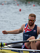 Poznan, POLAND, 21st June 2019, Friday, Morning Heats,, Will SATCH, waiting for the start of his heat GBR2 M4- FISA World Rowing Cup II, Malta Lake Course, © Peter SPURRIER/Intersport Images,<br /><br />11:44:24