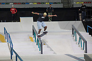 Ishod Wair, USA, during the men's quarter finals of the Street League Skateboarding World Tour Event at Queen Elizabeth Olympic Park on 25th May 2019 in London in the United Kingdom. The SLS World Tour Event will take place at the Copper Box Arena during the 25-26 May, 2019.