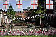 St George's Day flags fly during the lunchtime of 23rd April, England's national day. Christian worship has probably been offered at this location at the church of St. Botolph's without Bishopsgate since Roman times. The original Saxon church, the foundations of which were discovered when the present church was erected, is first mentioned as 'Sancti Botolfi Extra Bishopesgate' in 1212.St. Botolph without Bishopsgate may have survived the Great Fire of London unscathed, and only lost one window in the Second World War, but on 24 April 1993 was one of the many buildings to be damaged by an IRA bomb.