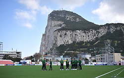 Republic of Ireland players on the pitch prior to the UEFA Euro 2020 Qualifying, Group D match at the Victoria Stadium, Gibraltar.