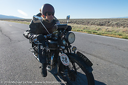 Kevin Waters riding his 1931 Sunbeam M9 during stage 12 (299 m) of the Motorcycle Cannonball Cross-Country Endurance Run, which on this day ran from Springville, UT to Elko, NV, USA. Wednesday, September 17, 2014.  Photography ©2014 Michael Lichter.