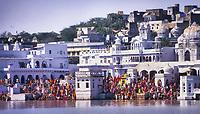 Ghat (River Landing Stairs) by Pushkar Lake, Rajasthan, India