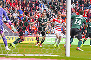 Tommy Rowe of Doncaster Rovers (10) scores a goal to make the score 1-0 during the EFL Sky Bet League 1 match between Doncaster Rovers and Plymouth Argyle at the Keepmoat Stadium, Doncaster, England on 13 April 2019.
