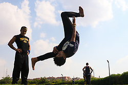 September 1, 2017 - Cairo, Egypt - Egyptian youth practicing sport in one of the gardens in Cairo in the first days of Eid al - Adha - Friday 1 September 2017. (Credit Image: © Fayed El-Geziry/NurPhoto via ZUMA Press)
