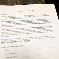 A questionnaire created by the law firm of Egolf, Ferlic, Martinez and Harwood LLC is distributed at a meeting for<br /> Individuals affected by the Gold King Mine spill Thursday at the Shiprock Chapter House. The document contains questions by a judge in the case ordered to be answered by all plaintiffs involved and must be completed and returned to the law firm by Jan. 31. <br /> <br /> <br /> <br /> <br /> <br /> <br />  for individuals affected by the Gold King Mine spill in 2015 contains questions by a judge in the case ordered to be answered by all plaintiffs involved in the lawsuit and must be completed and returned by Jan. 31.