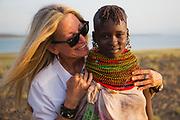 A Turkana girl wearing traditional stacked beaded necklaces, Lake Turkana, Loiyangalani,Kenya, Africa