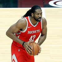 28 February 2018: Houston Rockets center Nene Hilario (42) looks to pass the ball during the Houston Rockets 105-92 victory over the LA Clippers, at the Staples Center, Los Angeles, California, USA.